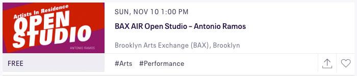 Click on the image to reserve tickets to Antonio Ramos Open Studio Showcase.